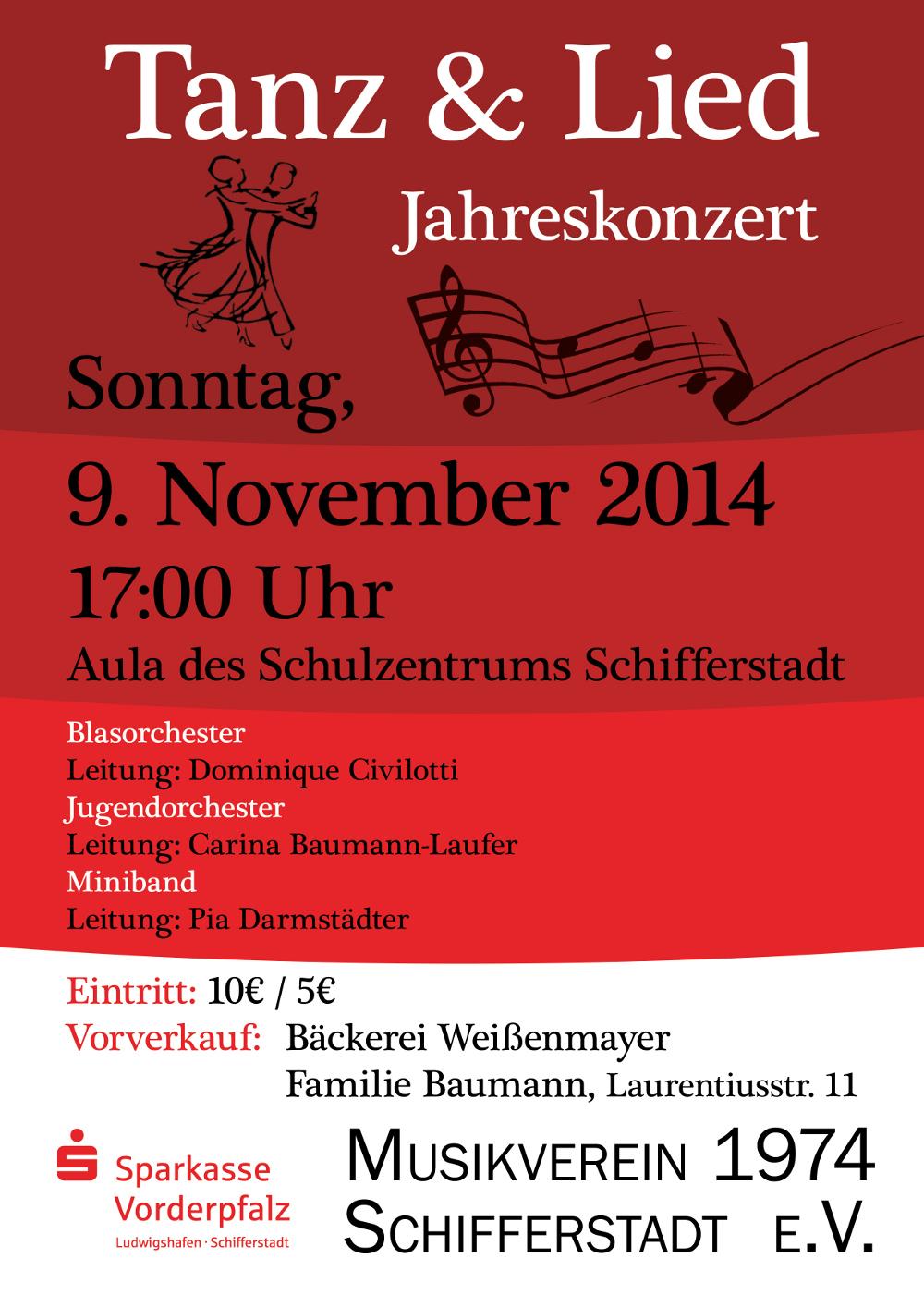 """Jahreskonzert """"Tanz & Lied"""" am 09. November"""